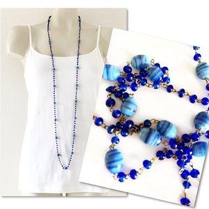 Jewelry - Blue art glass beaded long flapper necklace